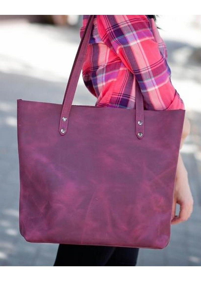 Buy Purple real leather women`s big vintage style comfortable shopper bag