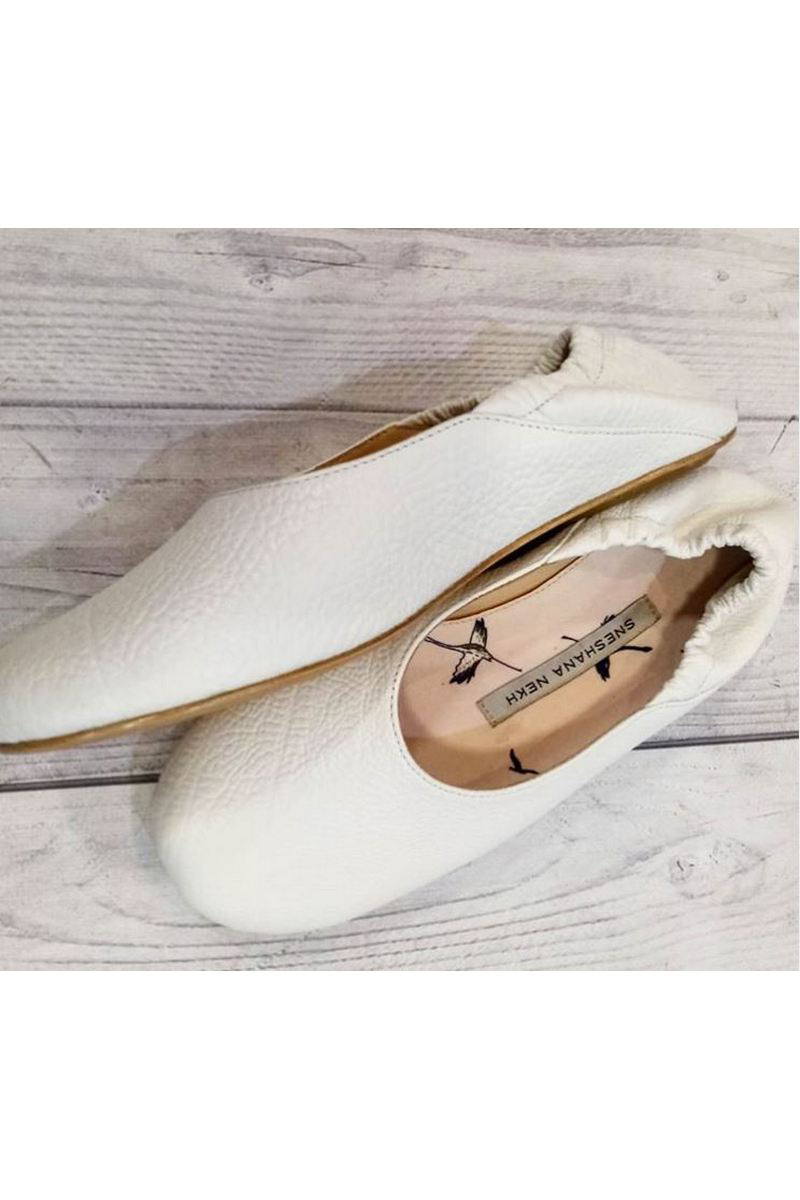 Buy Limited leather white ballet flats, round toe comfortable stylish designer shoes