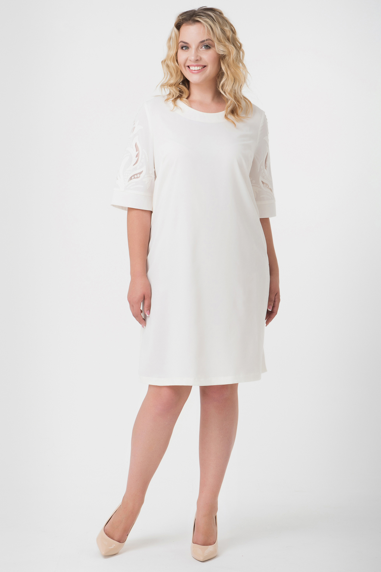 Buy White women`s knee-length dress, Elegant short sleeve dress with decor
