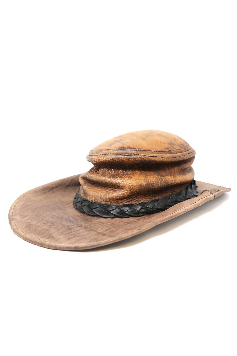 Appalachia Brown Leather Vintage Style Hat, Rock Festive Party Comfortable Hat