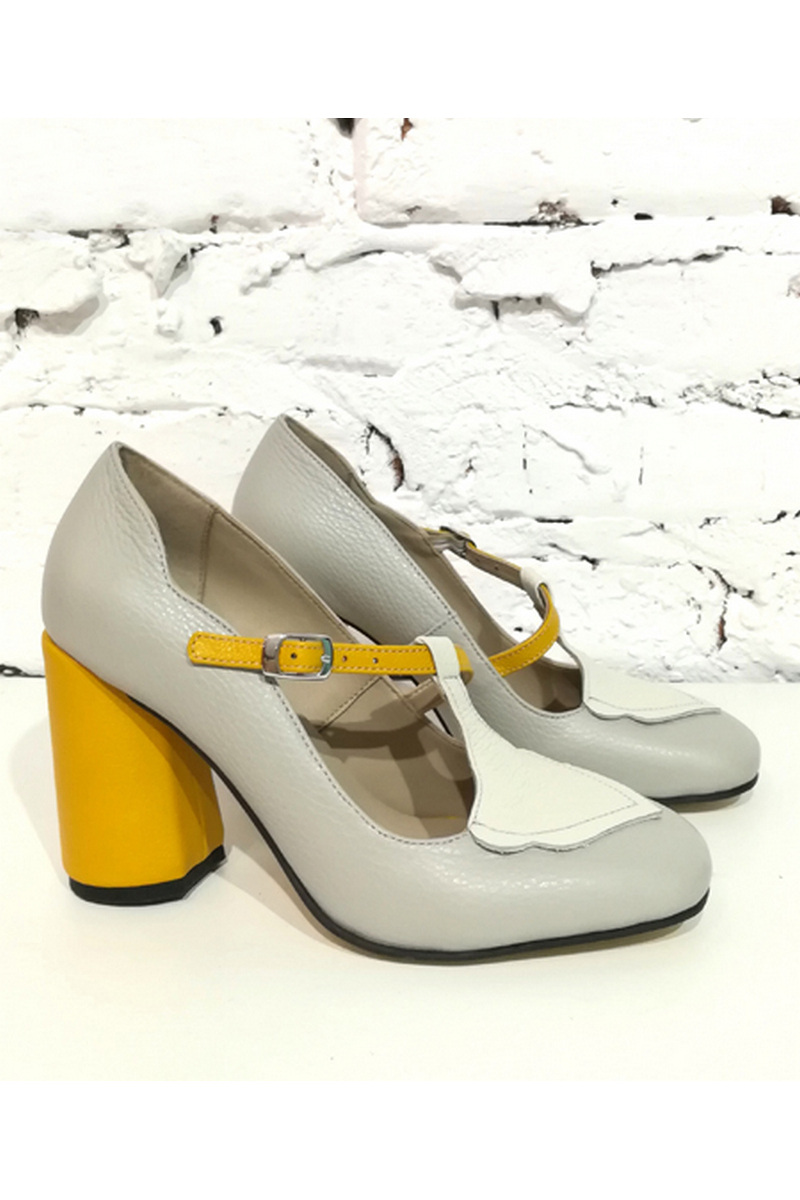 Buy T-strap gray leather comfortable wide high heel retro shoes, Unique designer shoes