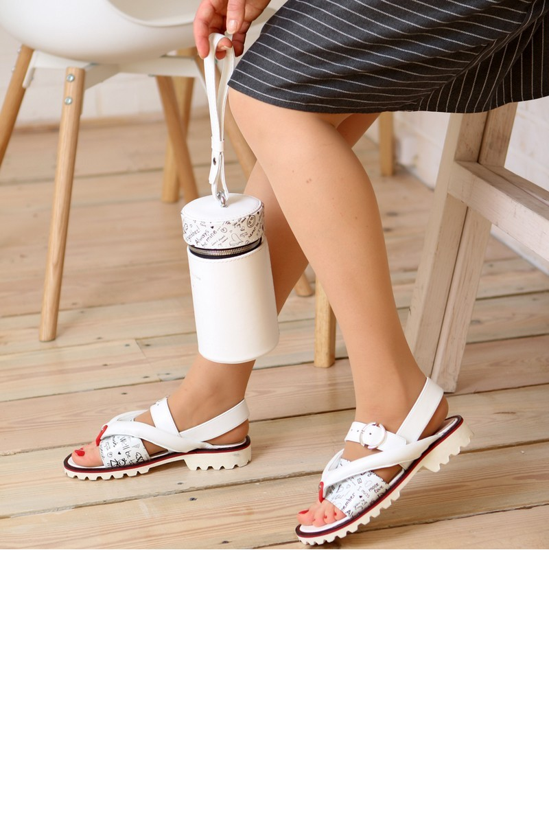 Buy Summer sandals white leather, tractor outsole beach casual women shoes