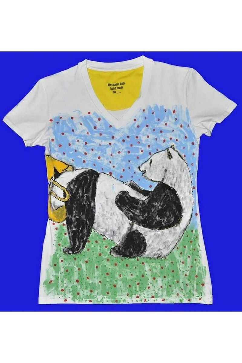 Buy Unique Women Men White stylish Cotton Print tee shirt , Short sleeve Panda tshirt
