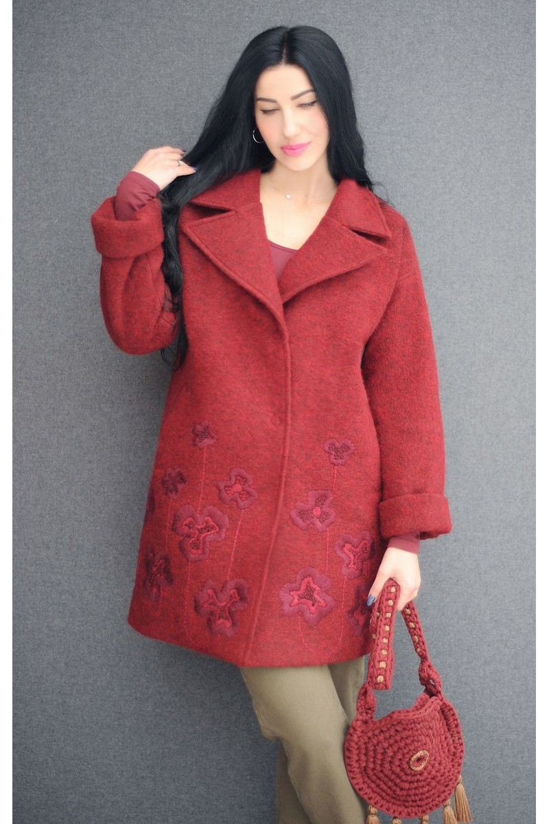 Buy Wool warm comfortable stylish original embroidered burgundy women stylish coat