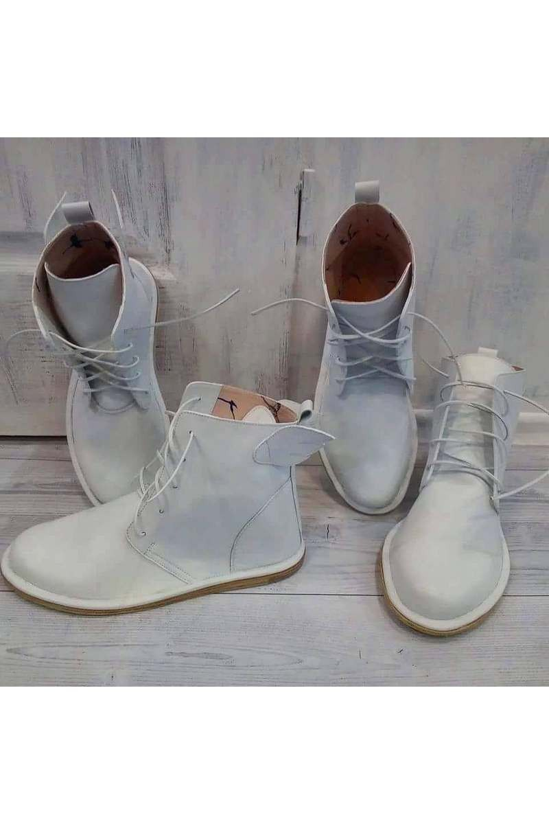 Buy Stylish white women men real leather laces unique comfortable low top boots