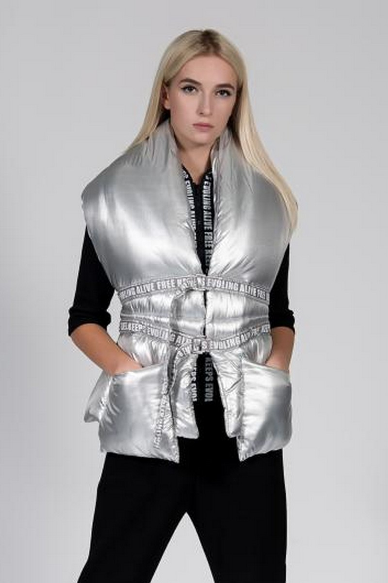 Buy Silver metallic warm women scarf vest, winter original scarf