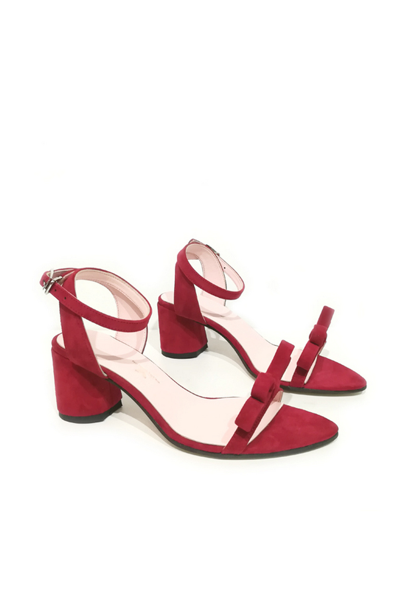 Buy Sandals women`s suede high heel burgundy straps bow pointy open toe, Designer shoes