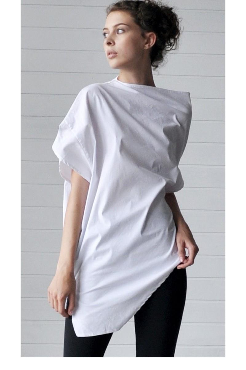 Buy White Cotton unique design asymmetric T-shirt, Women Men An architectural cut T-shirt