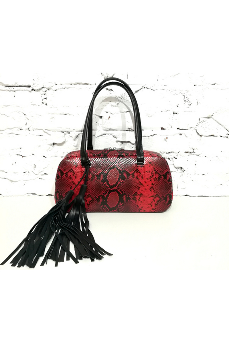 Buy Baguette Handbag bag python leather fringe burgundy black shoulder