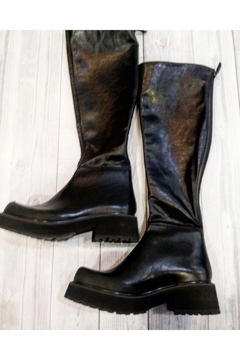 Black high real leather handmade boots for women