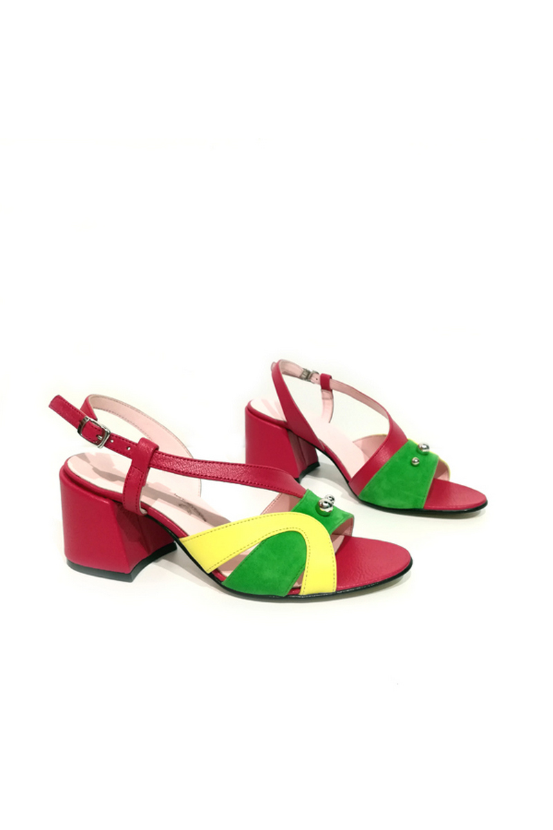 Buy Asymmetric Women Red Multicolor Comfortable Leather Heel Buckle Decor Bead Sandals, Designer shoes