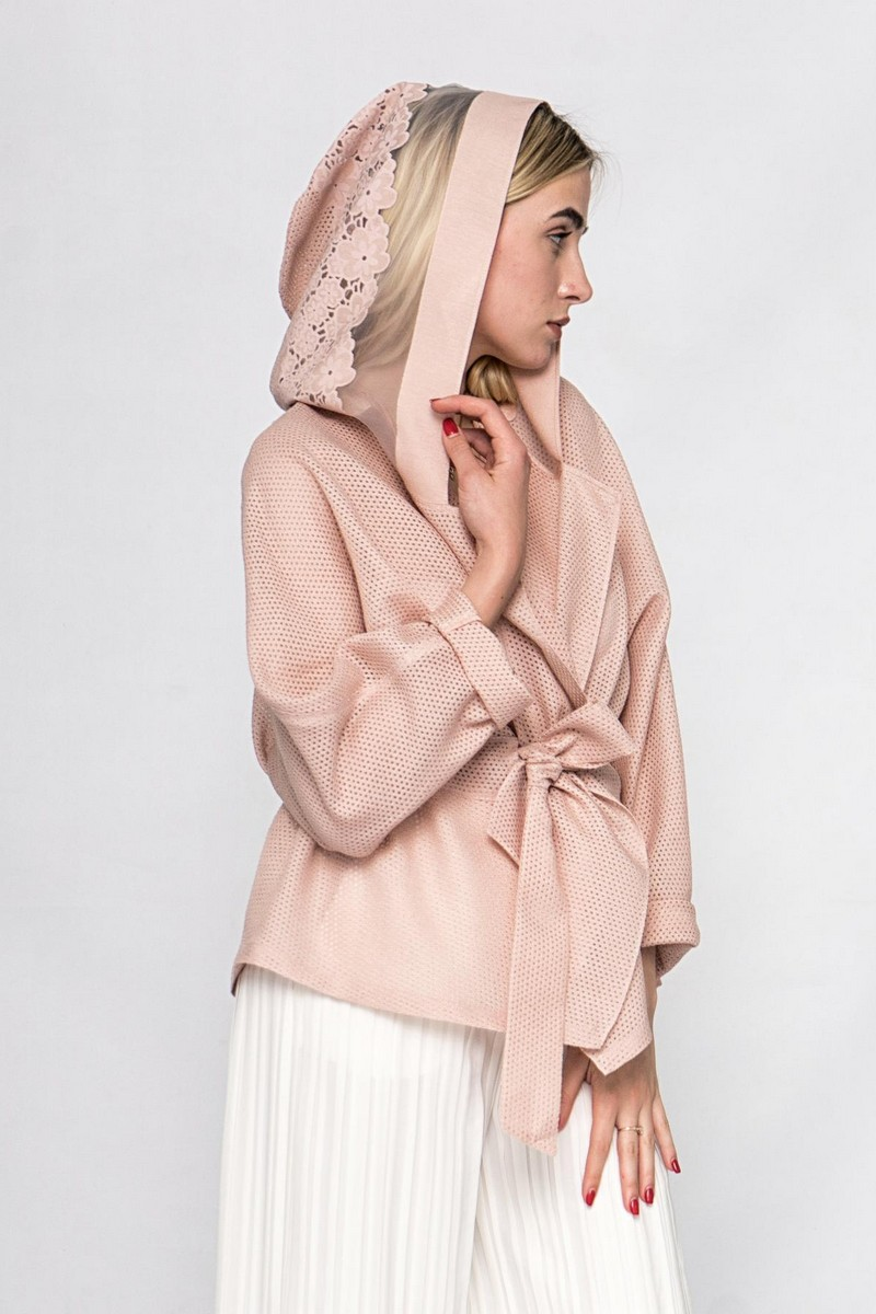 Buy Summer women`s lace nylon pink hooded coat cape, Сomfortable casual party long sleeve ladies coat