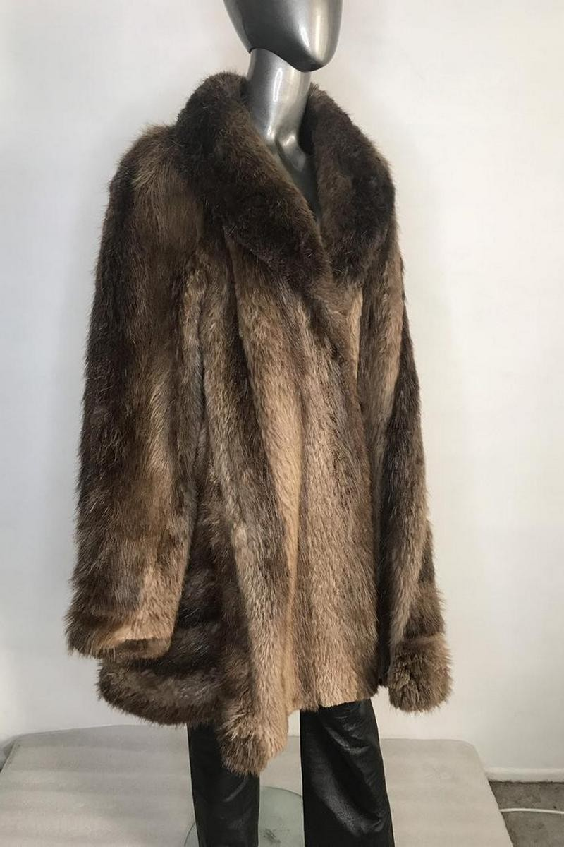 Buy Beaver Fur Coat Womens Brown Color in retro style flared silhouette with a large cozy collar with pockets womens size small