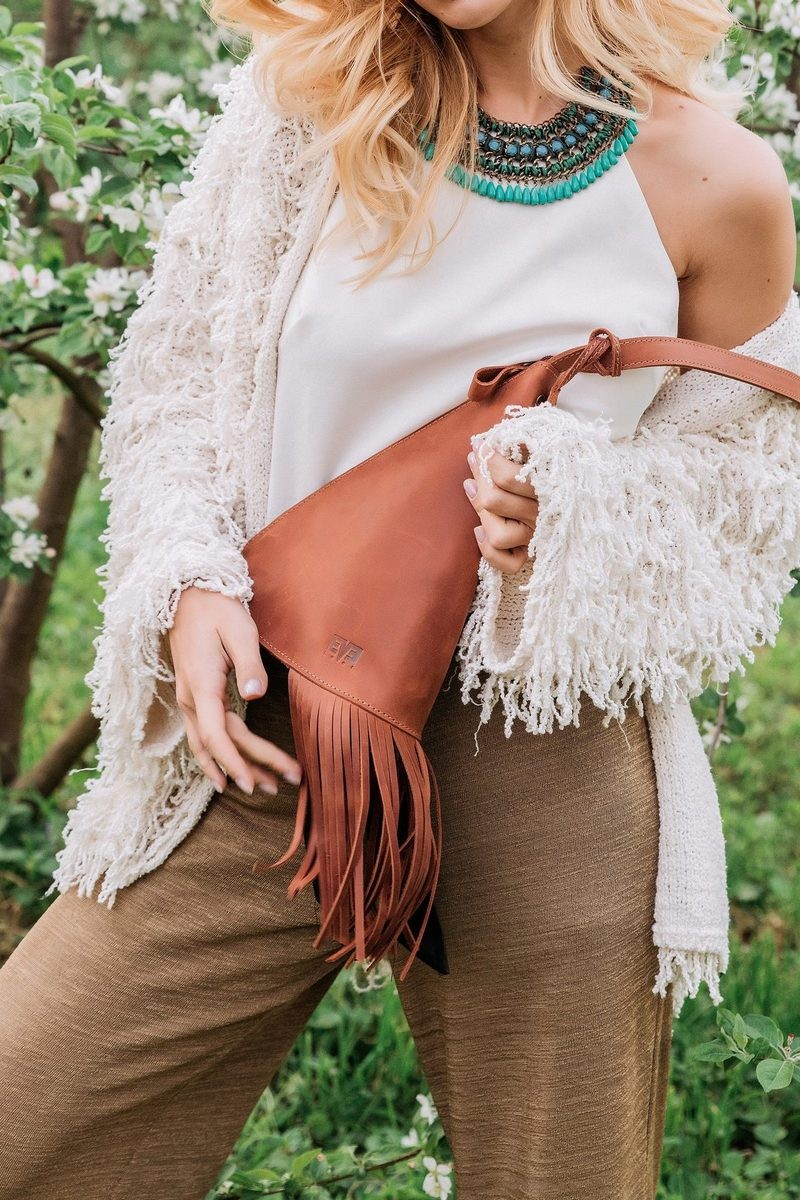 Buy Designer leather fringe mini bag, Stylish Women Handmade Shoulder bag