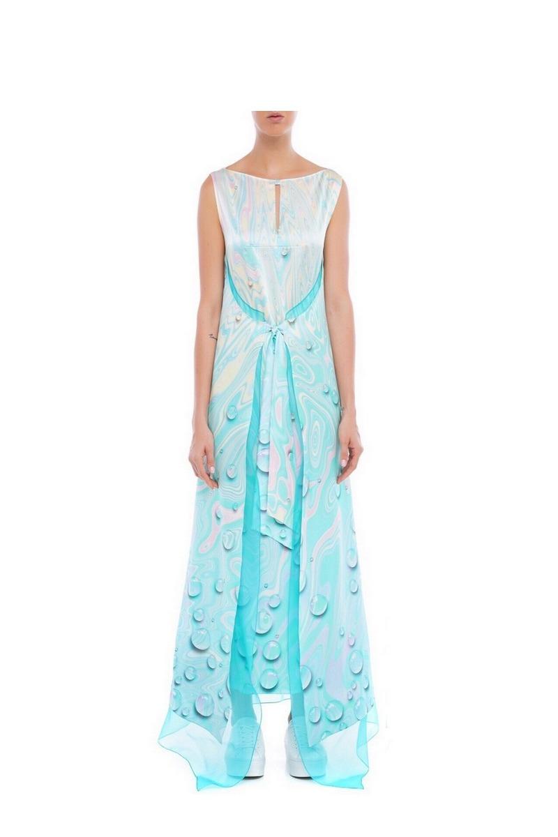 Buy Silk Organza Maxi Elegant dress, Party blue sleeveless double skirt long dress