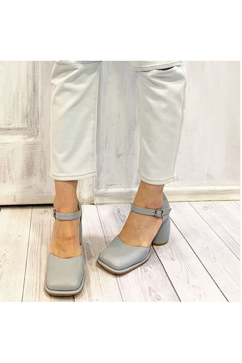 Buy Gray leather strap square toe shoes Closed Toe Ankle Strap Wedding Dress Shoes