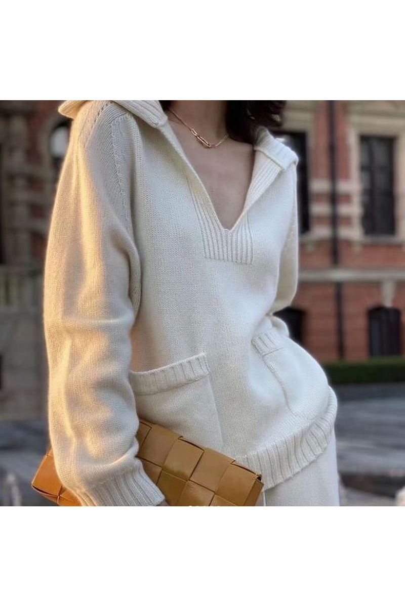 Buy Women's V-Neck Long Sleeve Pockets Loose Casual Knit Pullover Sweater Blouse