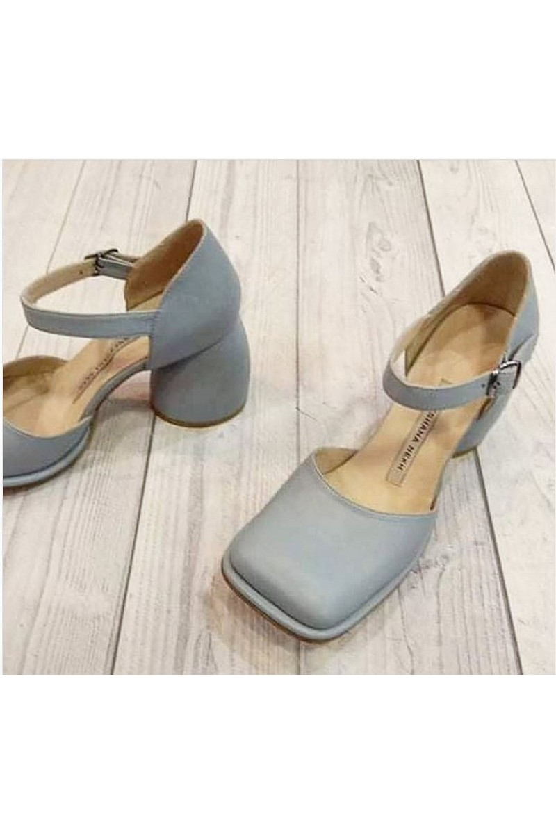 Gray leather strap square toe shoes Closed Toe Ankle Strap Wedding Dress Shoes
