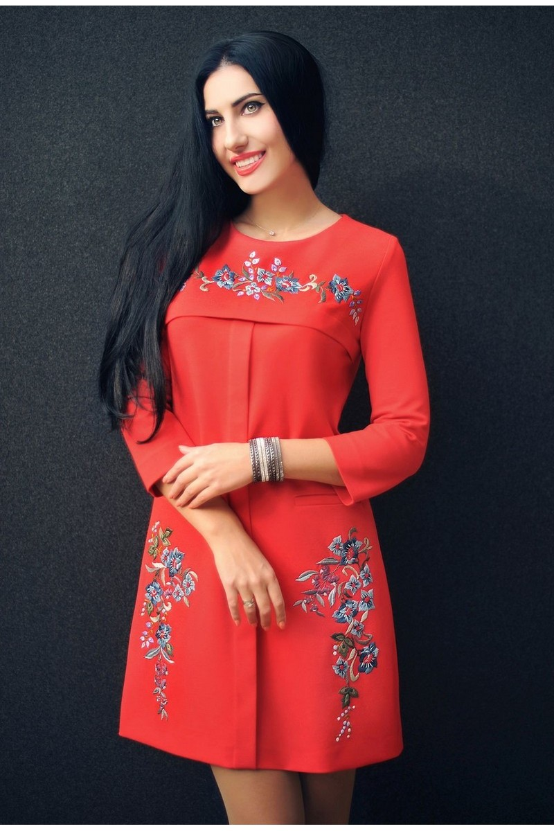 Buy Stylish elegant red embroidered party jersey original design women`s dress