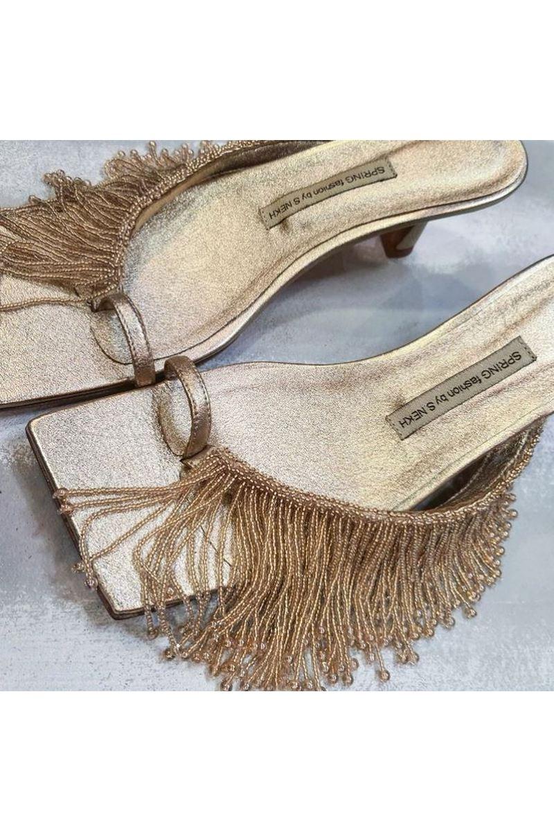 Buy Stiletto heel square toe flip flops beaded fringe silver color women fashion party sandals