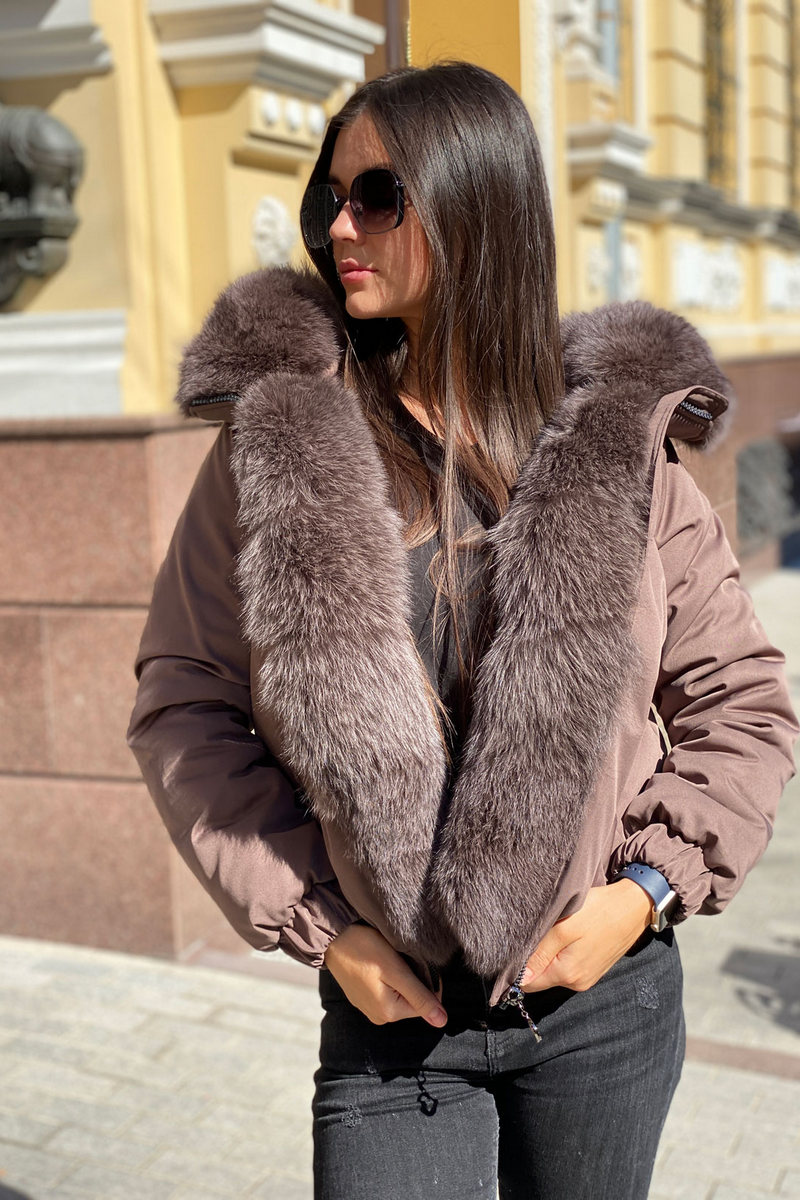 Buy Women Warm Bomber Jacket With Fox Fur Collar, Winter Coat