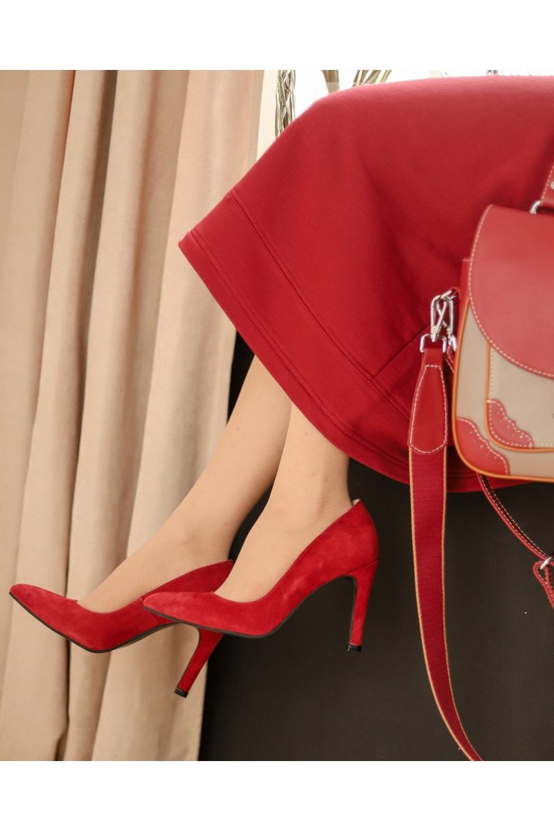 Buy Women classic suede red blue dress pumps shoes round neck pointed toe office high heel shoes