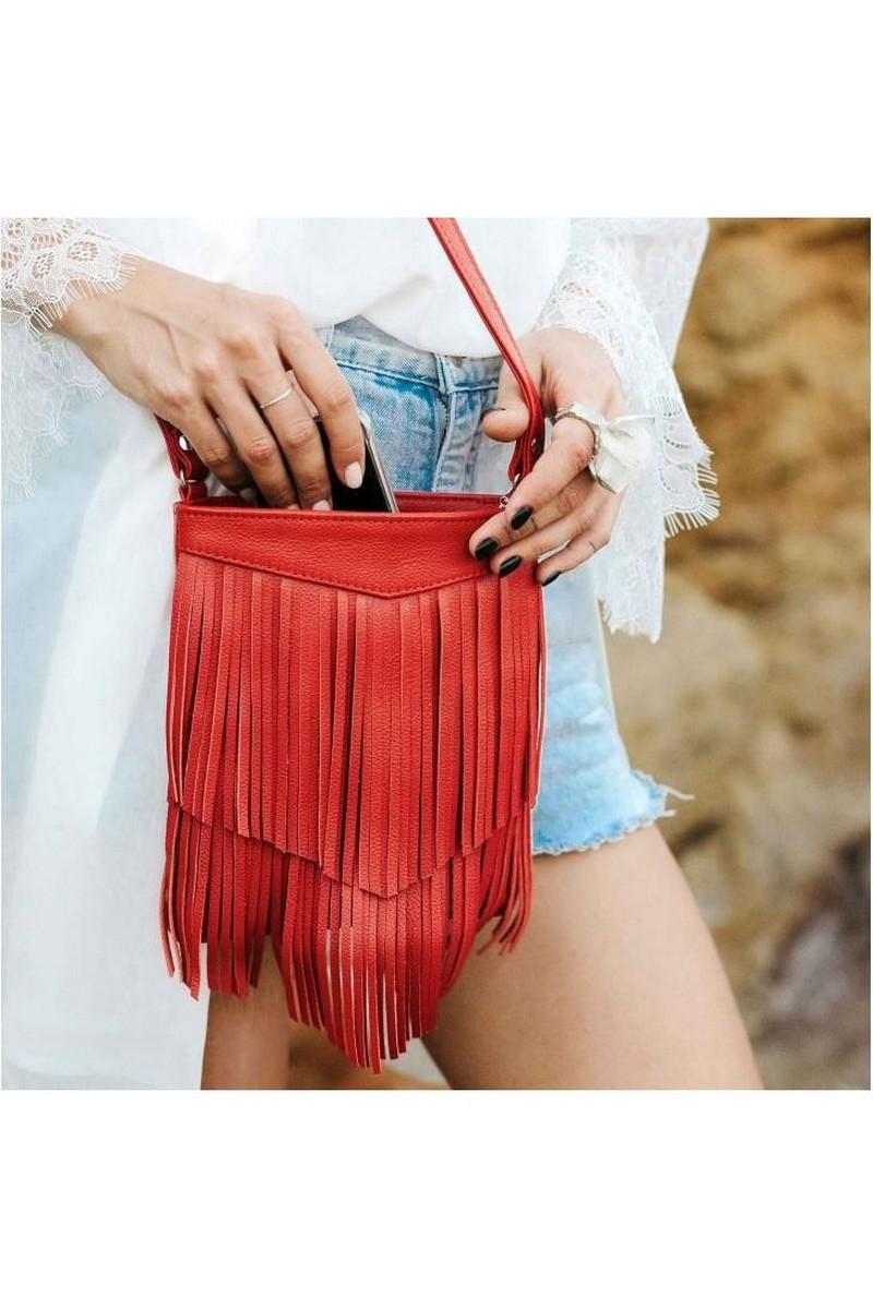 Buy Red leather women's fringe mini crossbody bag, original designer bag