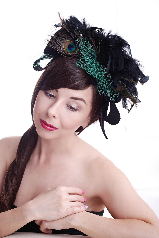Little black felt women's peacock feathershat in retro style, Unique exclusive designer stylish hat