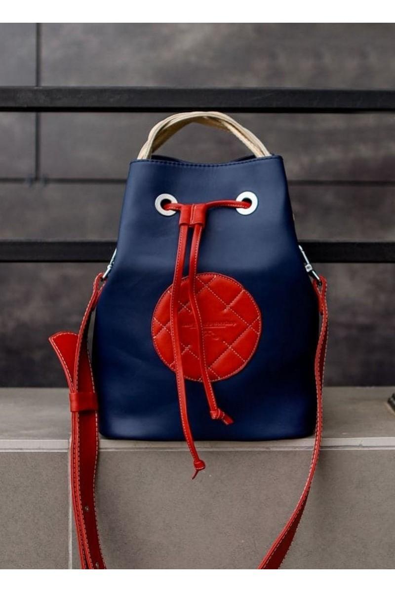 Buy Blue Leather Women Bucket Shoulder Bag Drawstring Long Strap Casual Urban Bag