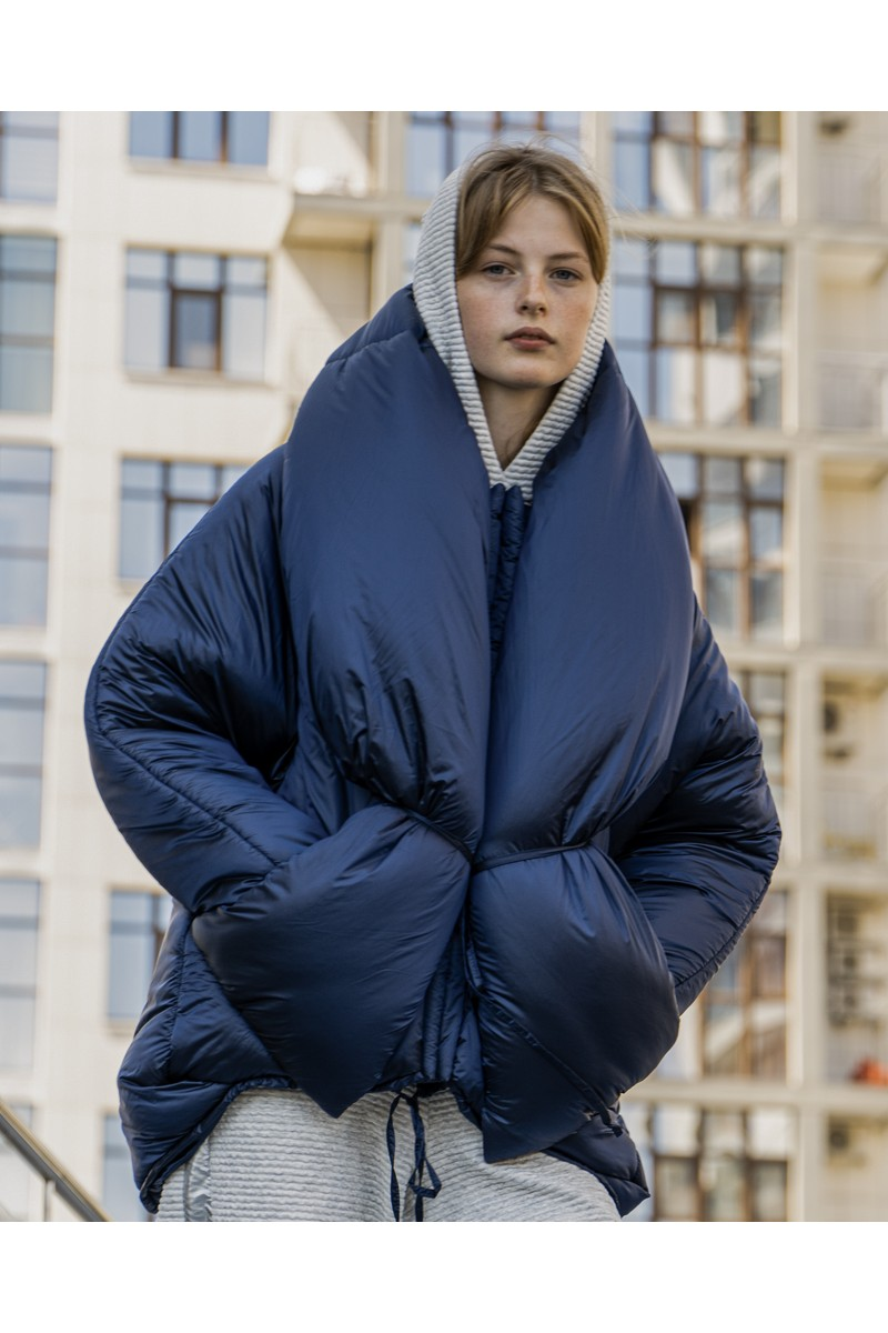 Buy Voluminous blue short down jacket, double-breasted fastener wawm winter coat