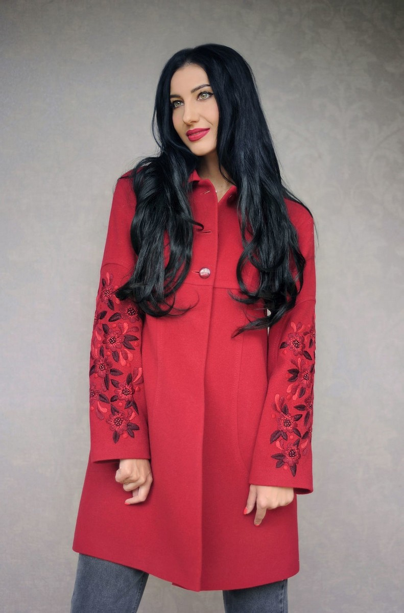 Buy Charming exclusive coat comfortable embroidery burgundy wool comfortable