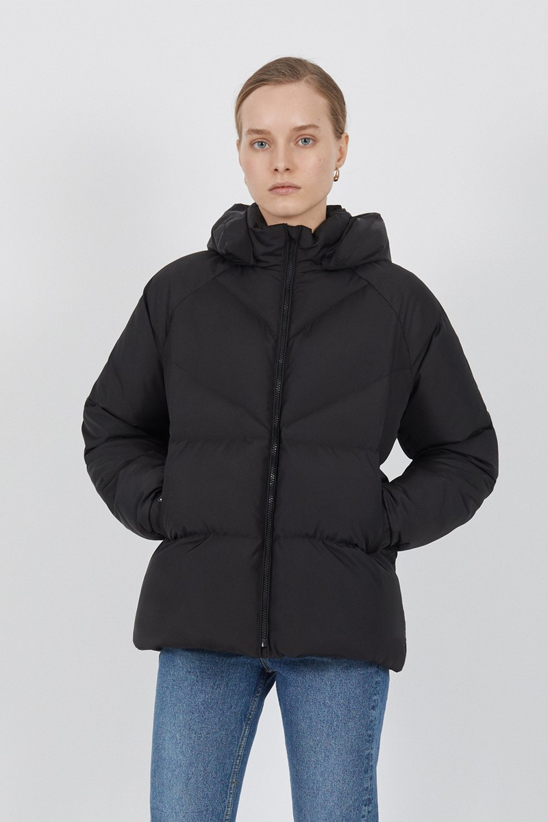 Buy Black women's sports down jacket, hooded stylish comfortable warm bomber coat