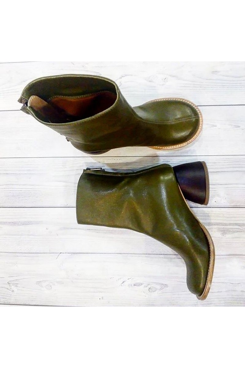 Buy Green women stylish designer real leather boots, round toe low heel shoes