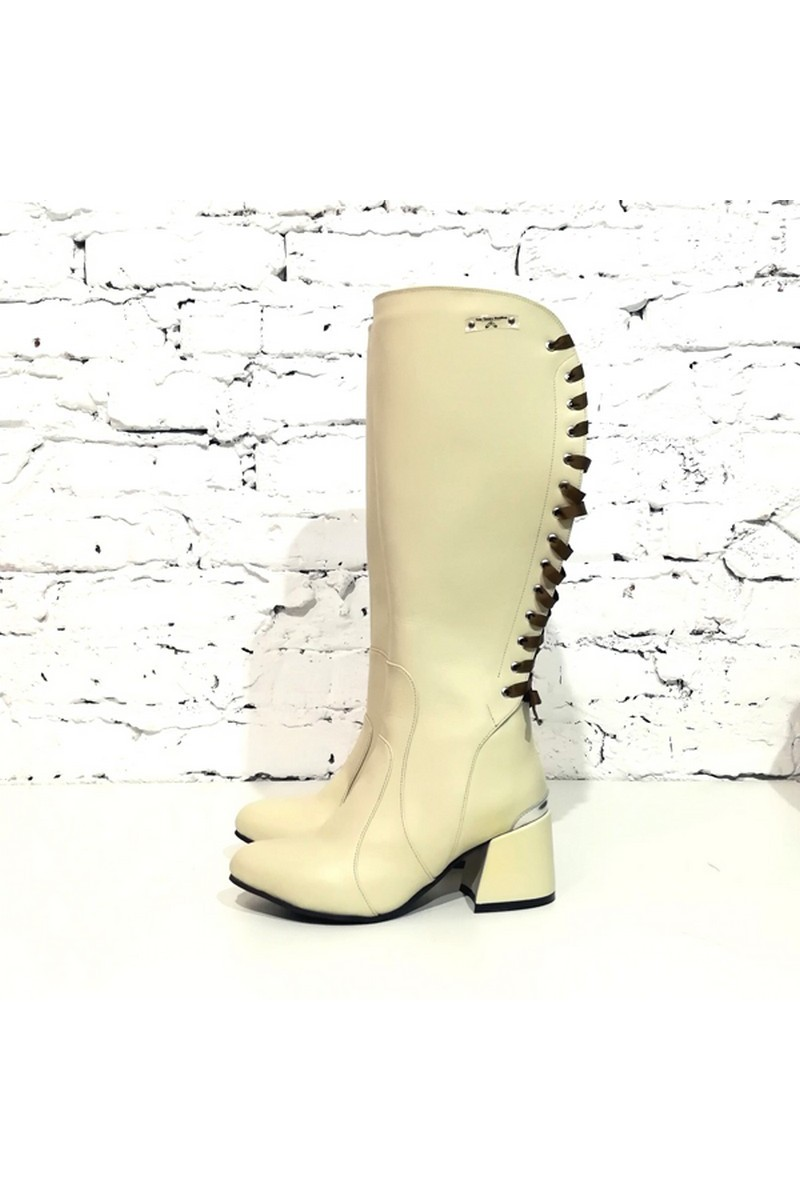 Buy Boots beige leather lacing heel, Comfortable warmed high zipper stylish warm women boots