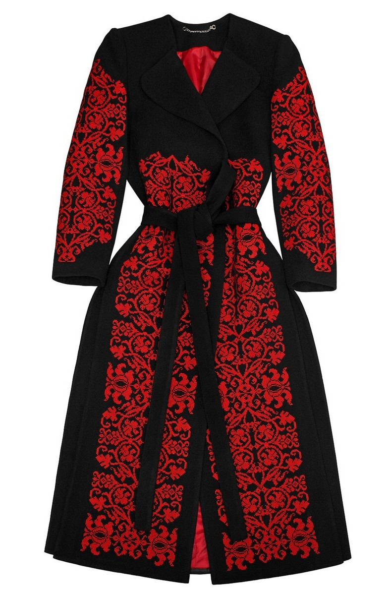 Black wool warm Ukrainian authentic unique designer vyshivanka coat