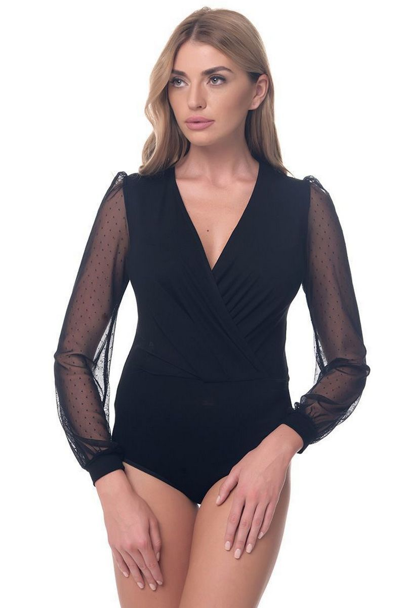 Buy Black Blouse Body for Women V-neck Guipure Office Style for business woman Clothing Arefeva