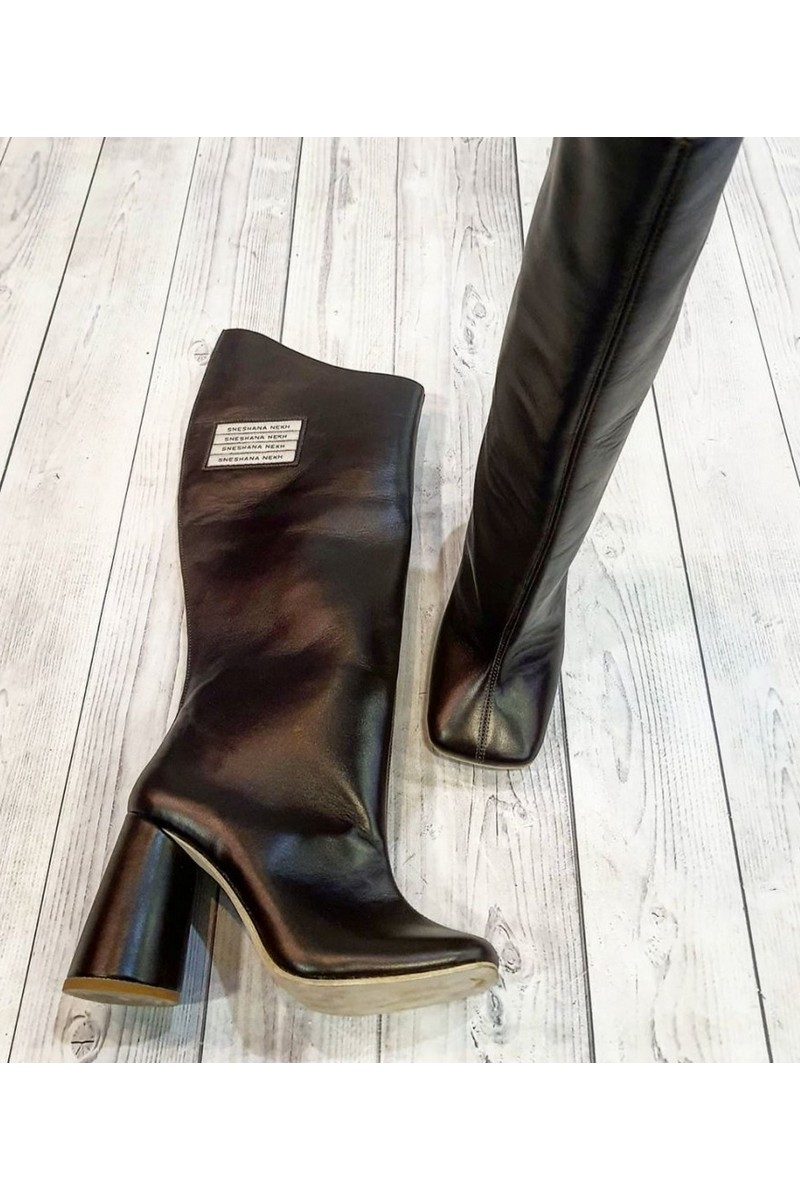 Buy Black Womens Leather Heel High Square Toe Boots, Designer Exclusive Unique Shoes