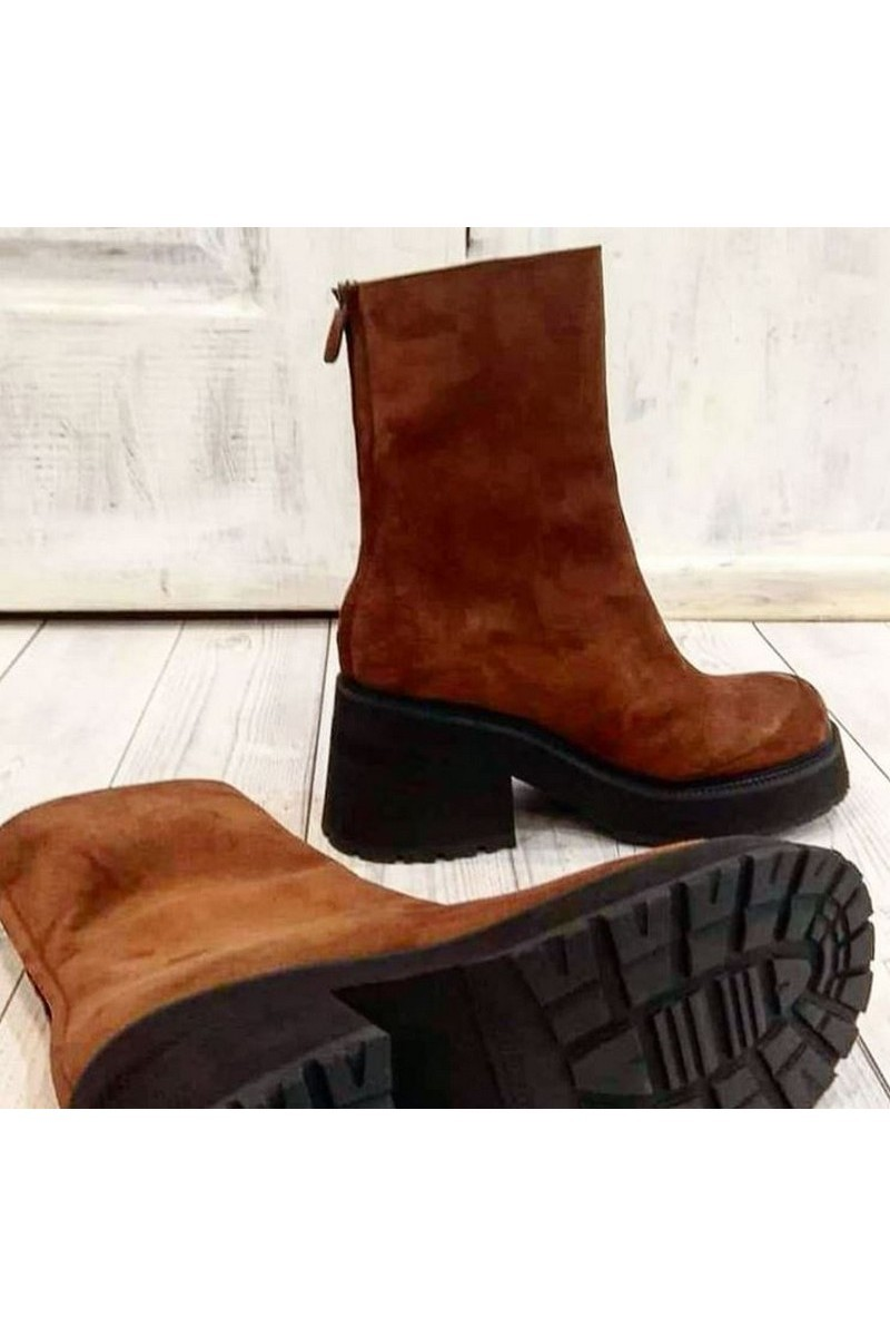 Buy Suede brown heel zipper boots, round toe tractor outsole handmade boots