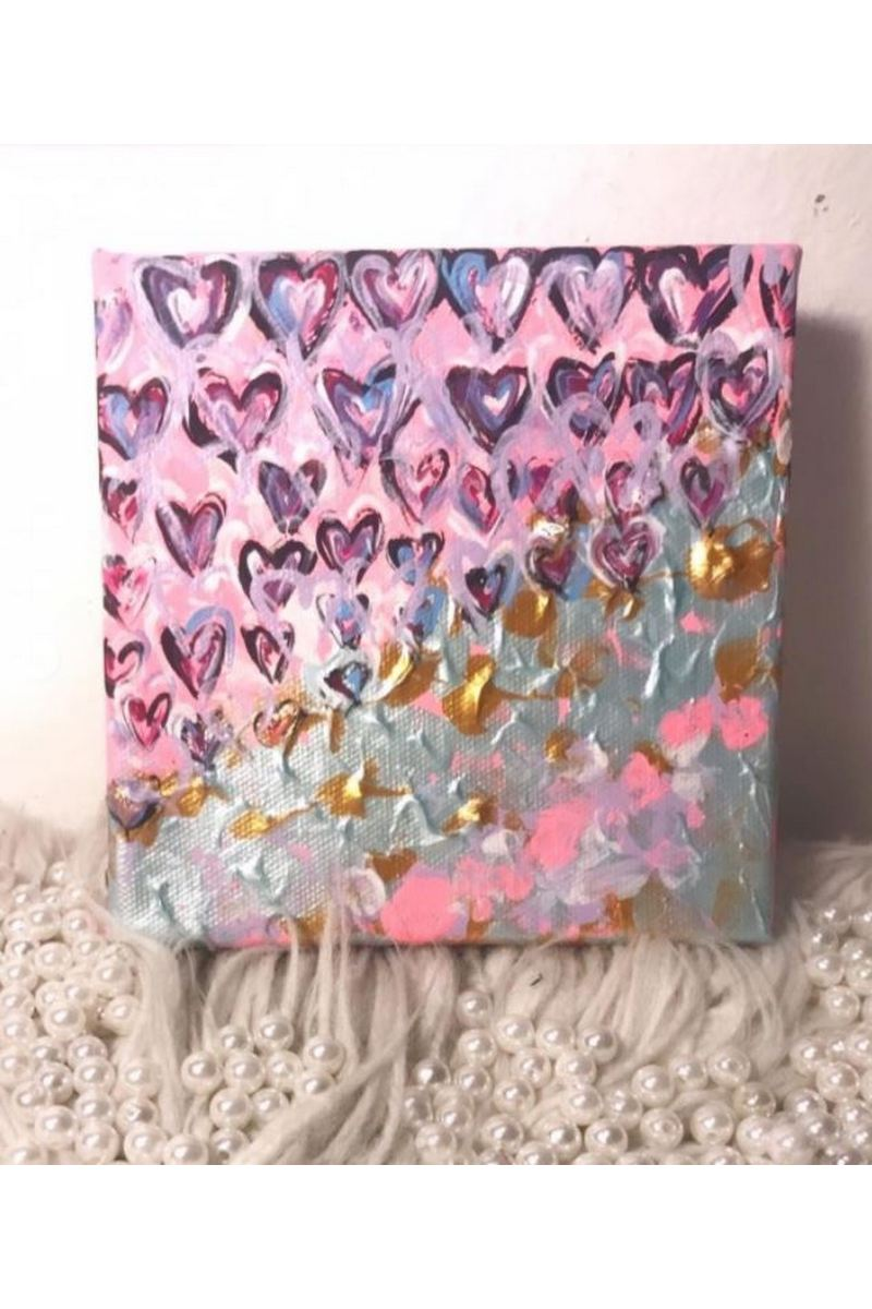 Canvas Print Wall Painting Pictures Hearts Pink Abstract Affection Celebration Artwork Modern Decor for Living Room Bedroom Bathroom Great Gift