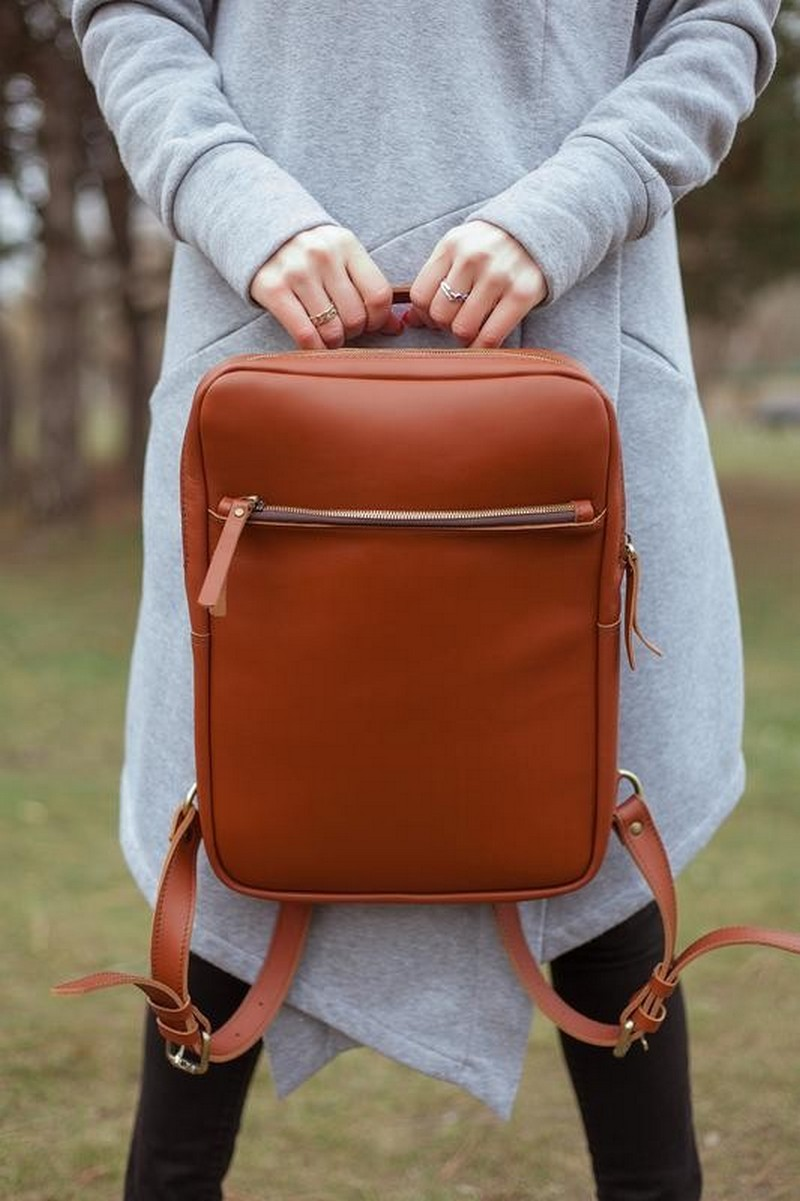 Buy Brown Woman Man Leather Urban Laptop Backpack, Casual comfortable backpack