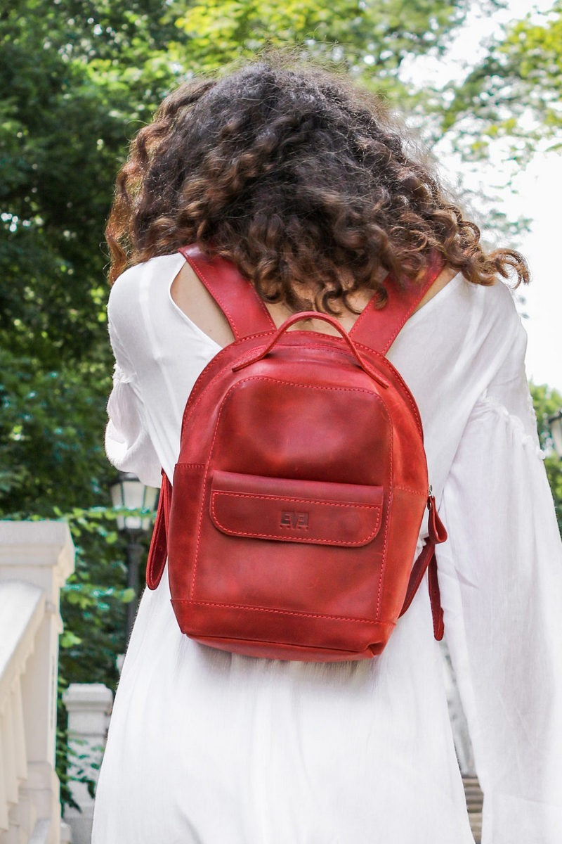Buy Leather women stylish small backpack, city casual comfortable designer backpack
