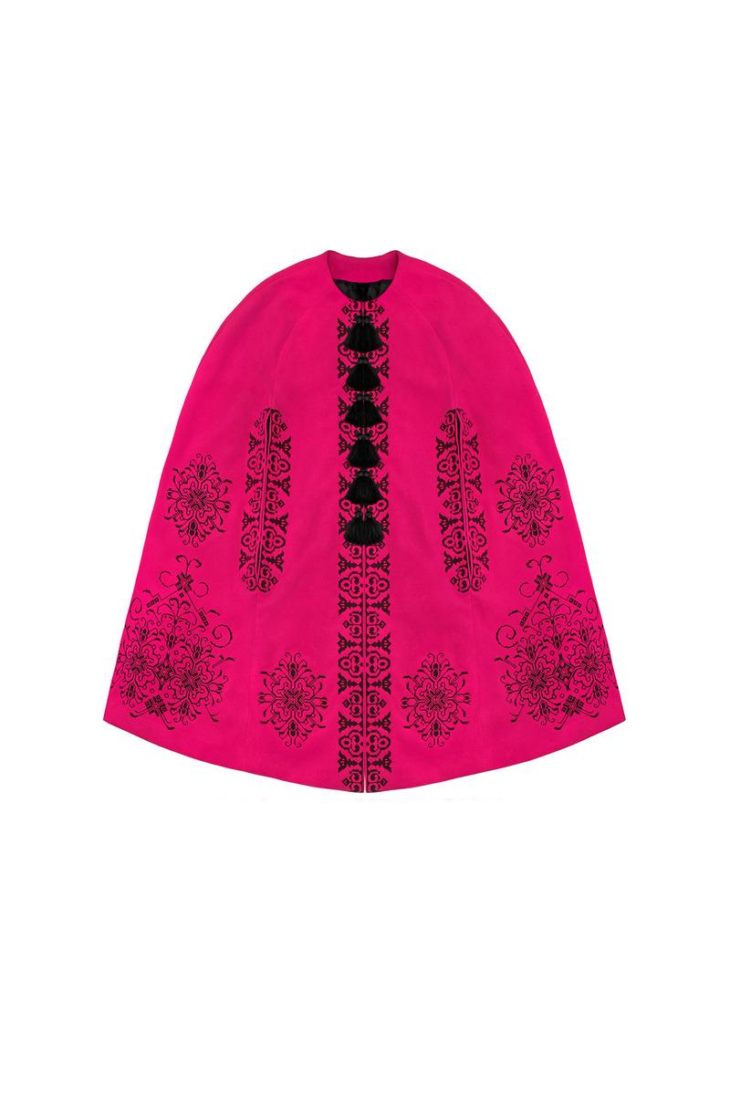 Buy Pink wool warm winter Ukrainian authentic unique designer cape