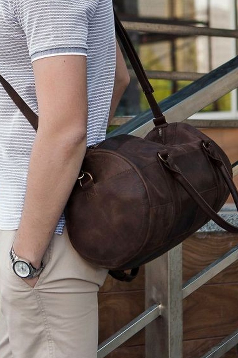 Buy Men`s brown real leather comfy vintage barrel bag, Casual Sporty bag in retro style