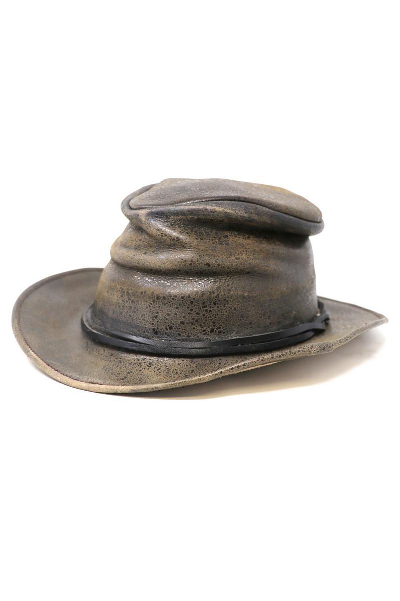 Buy Grey Crumpled Leather Fedora Hat, Stylish Handmade Rock Festival Burningman Hat