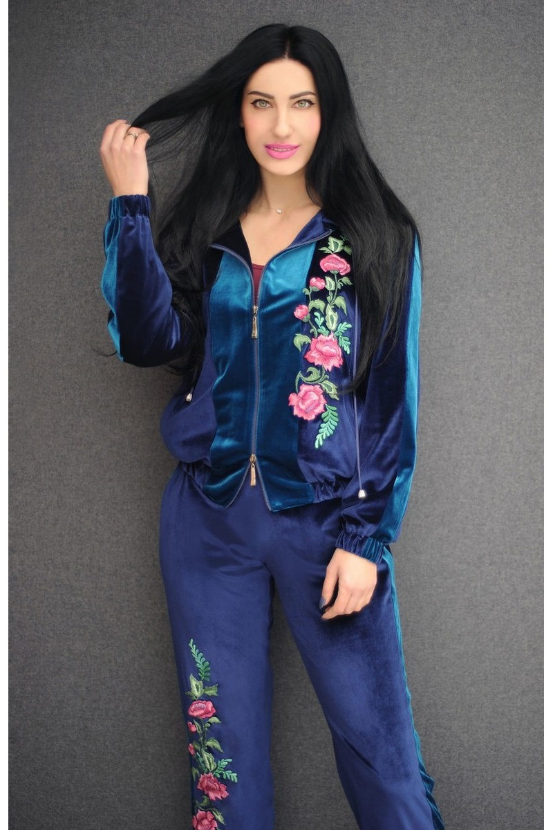 Buy Sport embroidered blue stylish casual Sporty chic women`s original comfortable suit