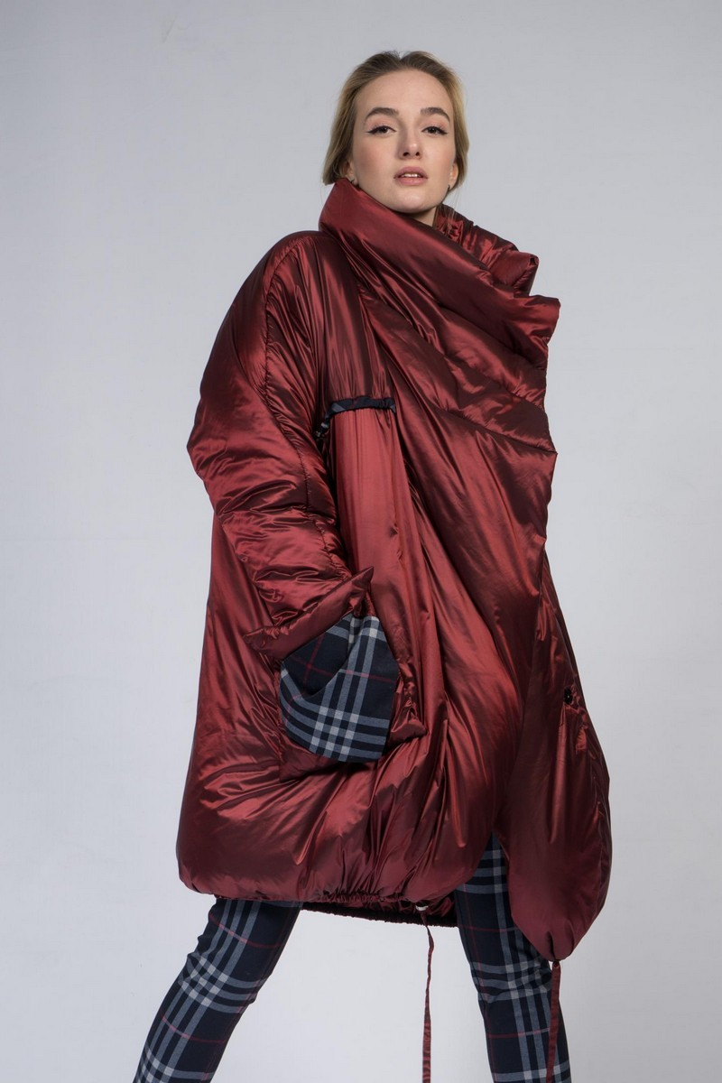 Buy Oversized burgundy loose down jacket, warm winter comfortable stylish downcoat