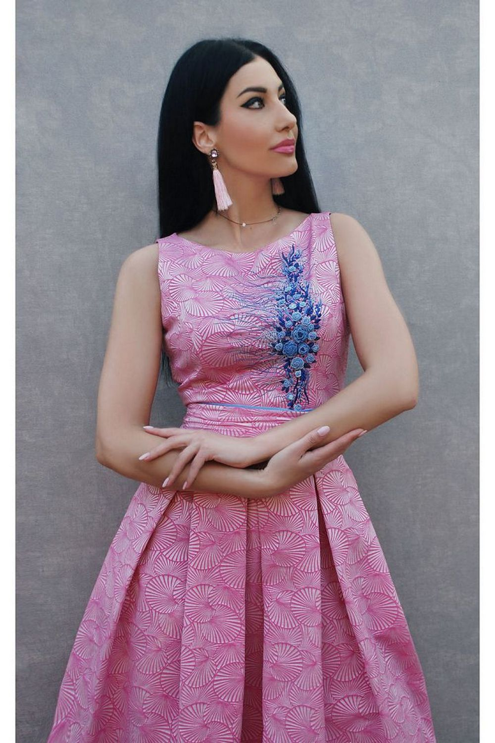 Buy Elegant pink jacquard midi dress with hand made embroidery, Original unique summer dress, Party comfortable dress
