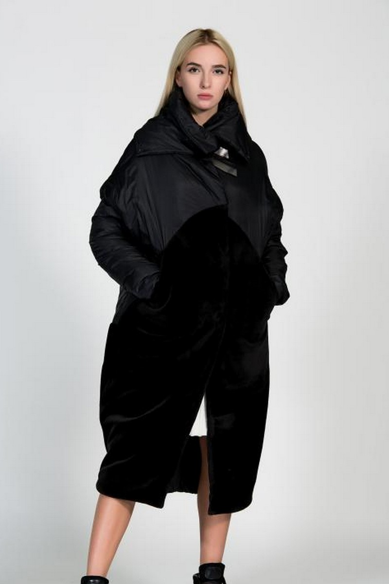 Buy Warm double-sided black coat, Eco-fur stylish comfortable winter unique designer clothes