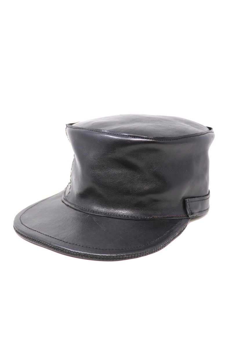 Buy Black Kepi Leather Military Festival Casual Hat, Party leather accessories