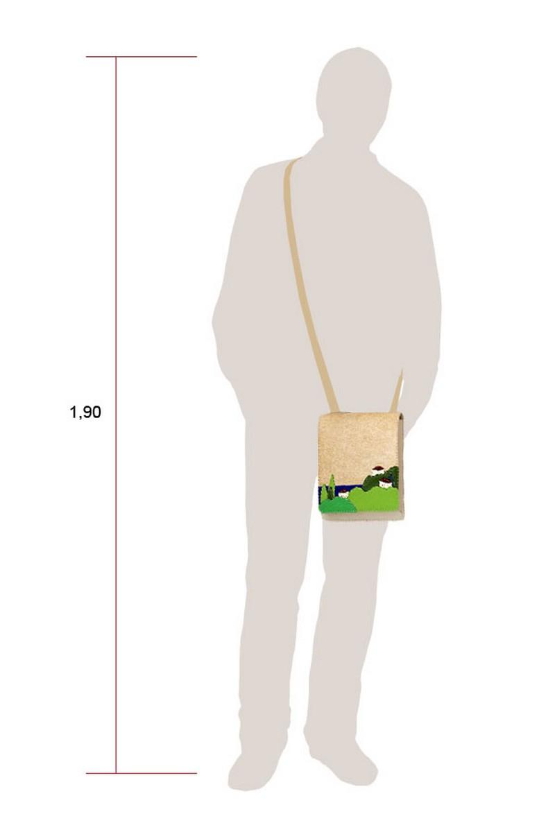 Beige Leather Suede women men handmade bag, embroidered tabletbag